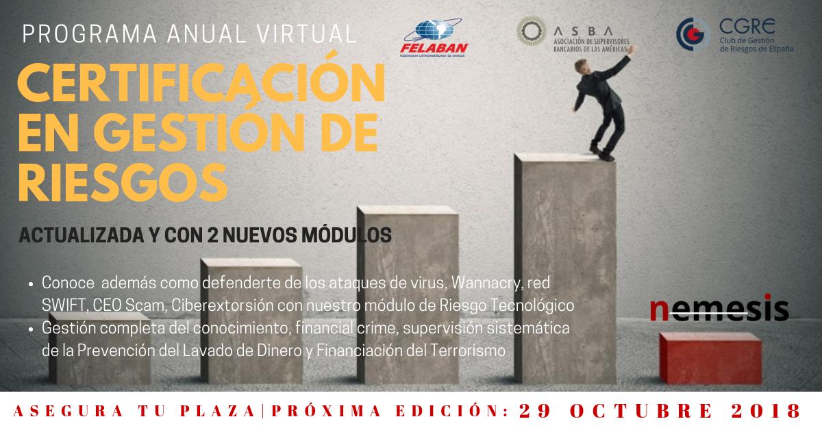 Certificación en Gestión de Riesgos – Edición Online. 29 de octubre 2018